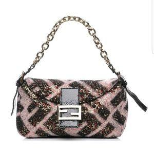Fendi Wool Embellished Sequin Chain Baguette Bag
